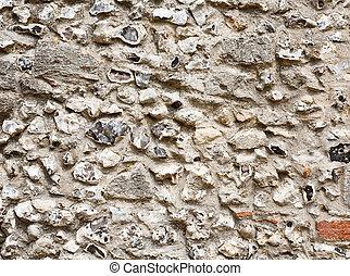 Flint stone wall