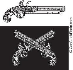 Flintlock Antique Pistol - editable vector illustration of...