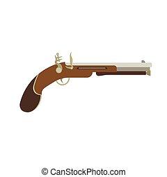 Flintlock pistol gun old illustration weapon vintage vector. Antique musket war pirate background. Duel isolated historical