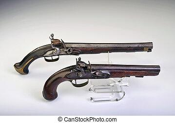 Flintlock Pistols. - French and English flintlock pistols...