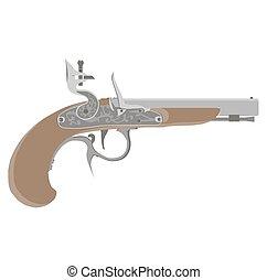 Flintlock vector vintage pistol illustration gun weapon old white pirate musket isolated retro
