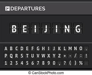 Flip airport board displays flight departure destination in Asia Beijing . Vector illustration