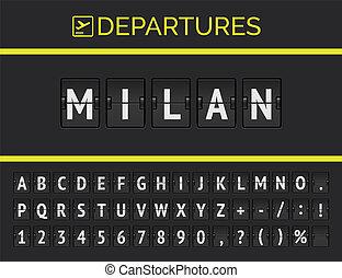 Flip airport board font displays flight departure destination in Europe Milan . Vector illustration