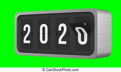 Flip black scoreboard 2021 on green background. Isolated 3D render