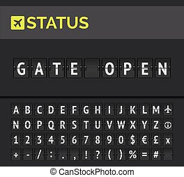 Flip board showing airport flight departure status Gate open. Vector