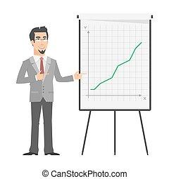 flip-chart, affärsman, pekar