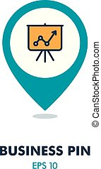 Flip-chart outline pin map icon. Business sign