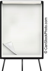 Flip chart paper and board over white background