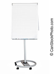 Flip chart with a blank sheet of paper. File contains clipping path.