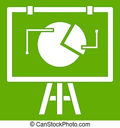 Flip chart with statistics icon green