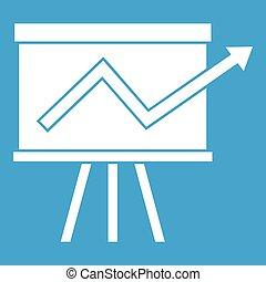 Flip chart with statistics icon white