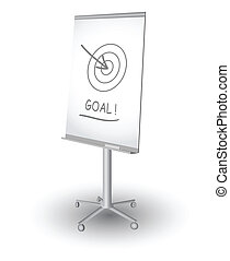 Flip chart with target, arrow and word Goal, vector