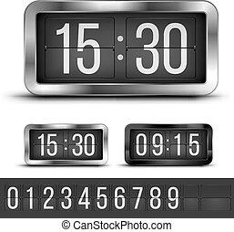 flip clock vector - Analog flip clocks silver and blacks...