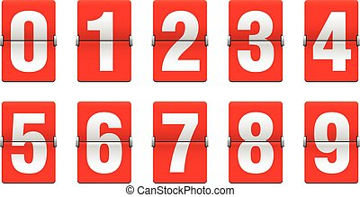 Flip countdown clock - vector digits - red counter timer, time remaining count down scoreboard in flip board with different digits from 0 to 9