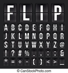 Flip countdown digital calendar clock numbers and letters. vector alphabet, font, airport board arrival symbols