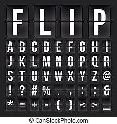 Flip countdown digital calendar clock numbers and letters. vector alphabet, font, airport board arrival symbols