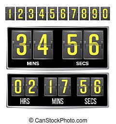 Flip Countdown Timer Vector. Black Flip Scoreboard Digital Timer Template. Hours, Minutes, Seconds. Isolated On White