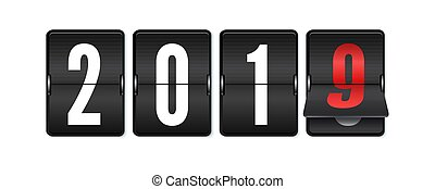 Flip countdown timer with changing numbers of year. Happy new year. Countdown timer. Mechanical scoreboard of counter of elapsed time. Vector template for holidays party.