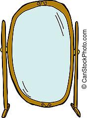 Flip Dressing Mirror - Empty tall dressing mirror on...