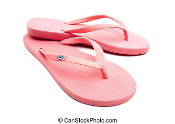 flip flop - A pair of pink sandals on white background