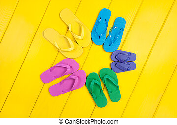 Flip Flop Assortment - An assortment of colorful rubber flip...