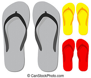 Flip-flop set on a white background. Vector illustration.