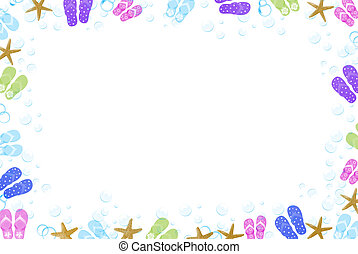 Flip-flop border with starfish and bubbles.