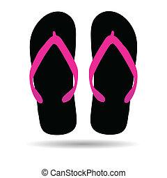 flip flop in black color illustration for the beach