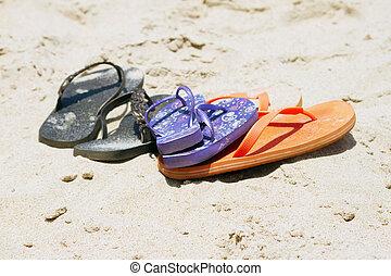 Flip-flop on a beautiful beach. India Goa.