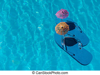 Flip Flop on pool with surface