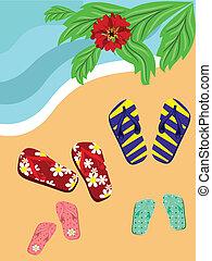 flip-flop, sandstrand