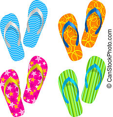 Flip flop set. Illustration on white background