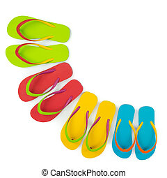 Realistic flip flop sets with different color combination
