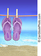Flip-Flop with seascape on the background