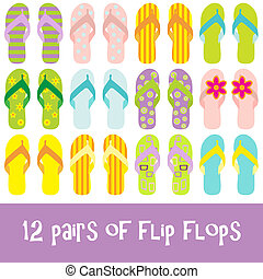 12 pairs of brightly colored flip flops- thongs
