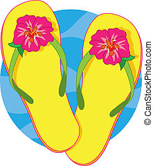 A pair of yellow flip flops with a pink hibiscus blossom