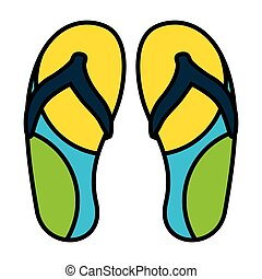 flip flops accessory on white background vector illustration