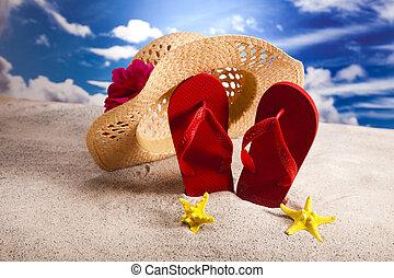 Flip flops and sand - Flip flops on the beach, suntan