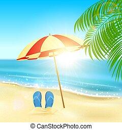 Flip flops and umbrella on the beach