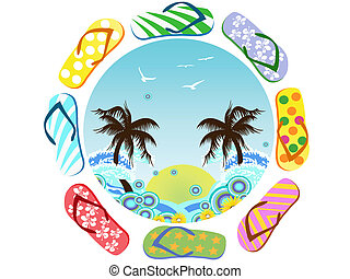 Flip Flops around summer - the symbol of summer coming