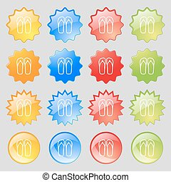 Flip-flops. Beach shoes. Sand sandals icon sign. Big set of 16 colorful modern buttons for your design. Vector
