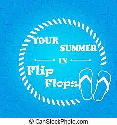 Flip flops  blue  background