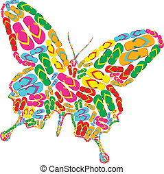 Butterfly shape made with multicolor flip flops isolated over white. Vector file layered for easy manipulation and custom coloring.