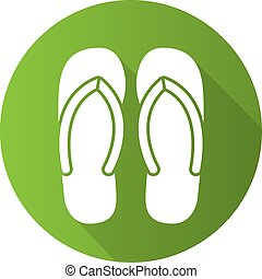 Flip flops flat design long shadow icon