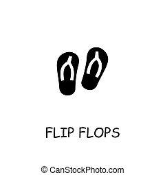 Flip flops flat vector icon