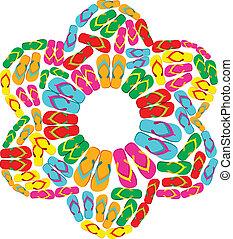 Flip flops flower - Flip flops in flower shape isolated over...