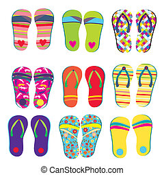 Flip flops funny designs set for summer