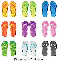 Image of various colorful flip flops isolated on a white background.