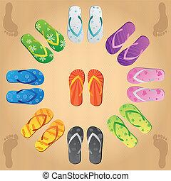 Flip Flops - Image of various colorful flip flops on a sand ...