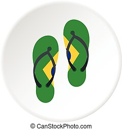 Flip flops in Brazil flag colors icon circle